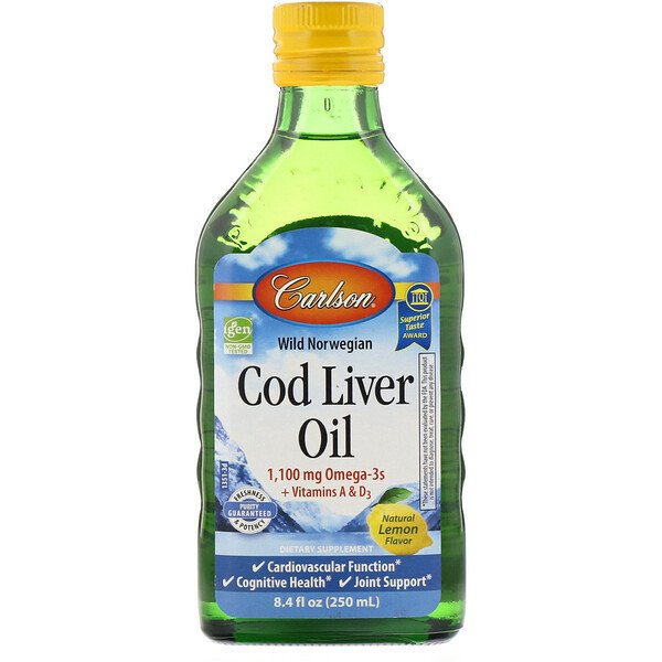 Carlson Labs, Wild Norwegian Cod Liver Oil, Natural Lemon Flavor, 1,000 mg , 8.4 fl oz (250 ml)