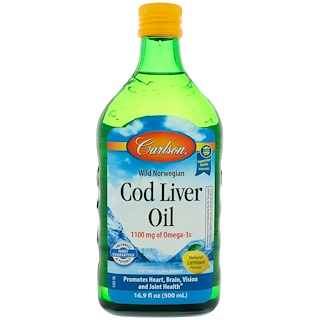 Carlson Labs, Wild Norwegian Cod Liver Oil, Natural Lemon, 16.9 fl oz (500 ml)