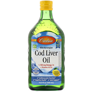 Carlson Labs, Wild Norwegian Cod Liver Oil, Natural Lemon Flavor, 16.9 fl oz (500 ml)