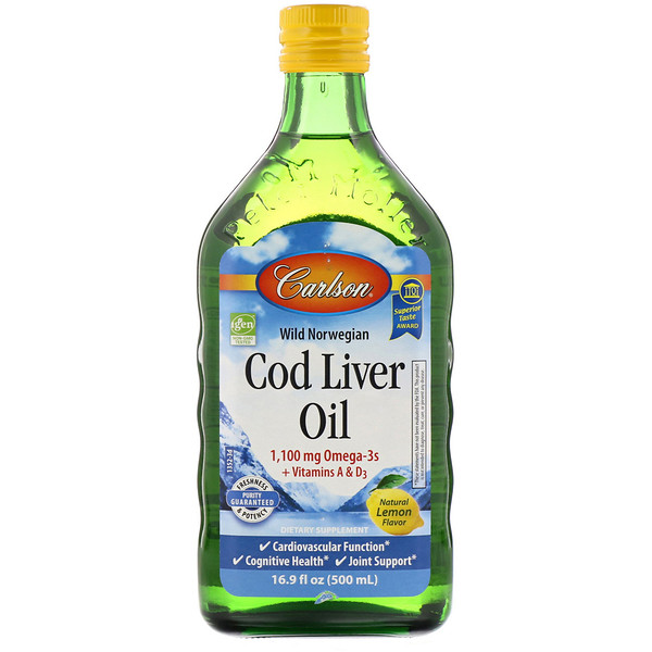 Carlson Labs, Wild Norwegian, Cod Liver Oil, Natural Lemon Flavor, 16.9 fl oz (500 ml)