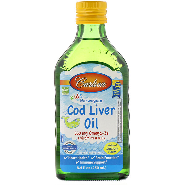 Carlson Labs, Kid's Norwegian, Cod Liver Oil, Natural Lemon Flavor, 8.4 fl oz (250 ml)