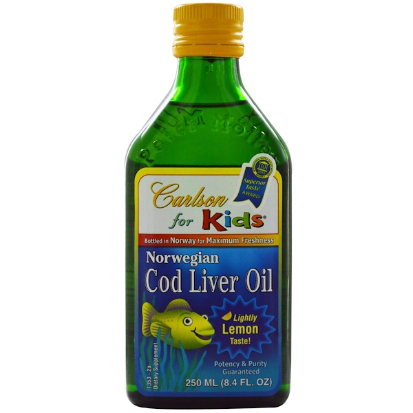Carlson Labs, Kid's, Norwegian Cod Liver Oil, Natural Lemon Flavor, 8.4 fl oz (250 ml)