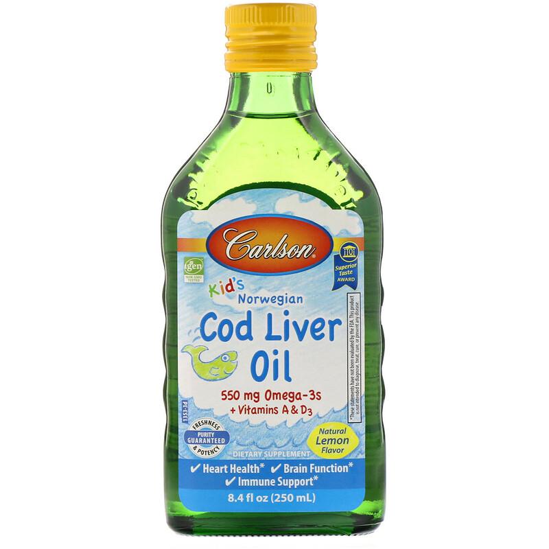 Carlson Labs, Kids, Norwegian Cod Liver Oil, Natural Lemon Flavor, 8.4 fl oz (250 ml)