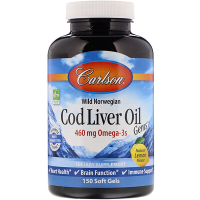 Wild Norwegian Cod Liver Oil Gems, Natural Lemon Flavor, 460 mg, 150 Soft Gels