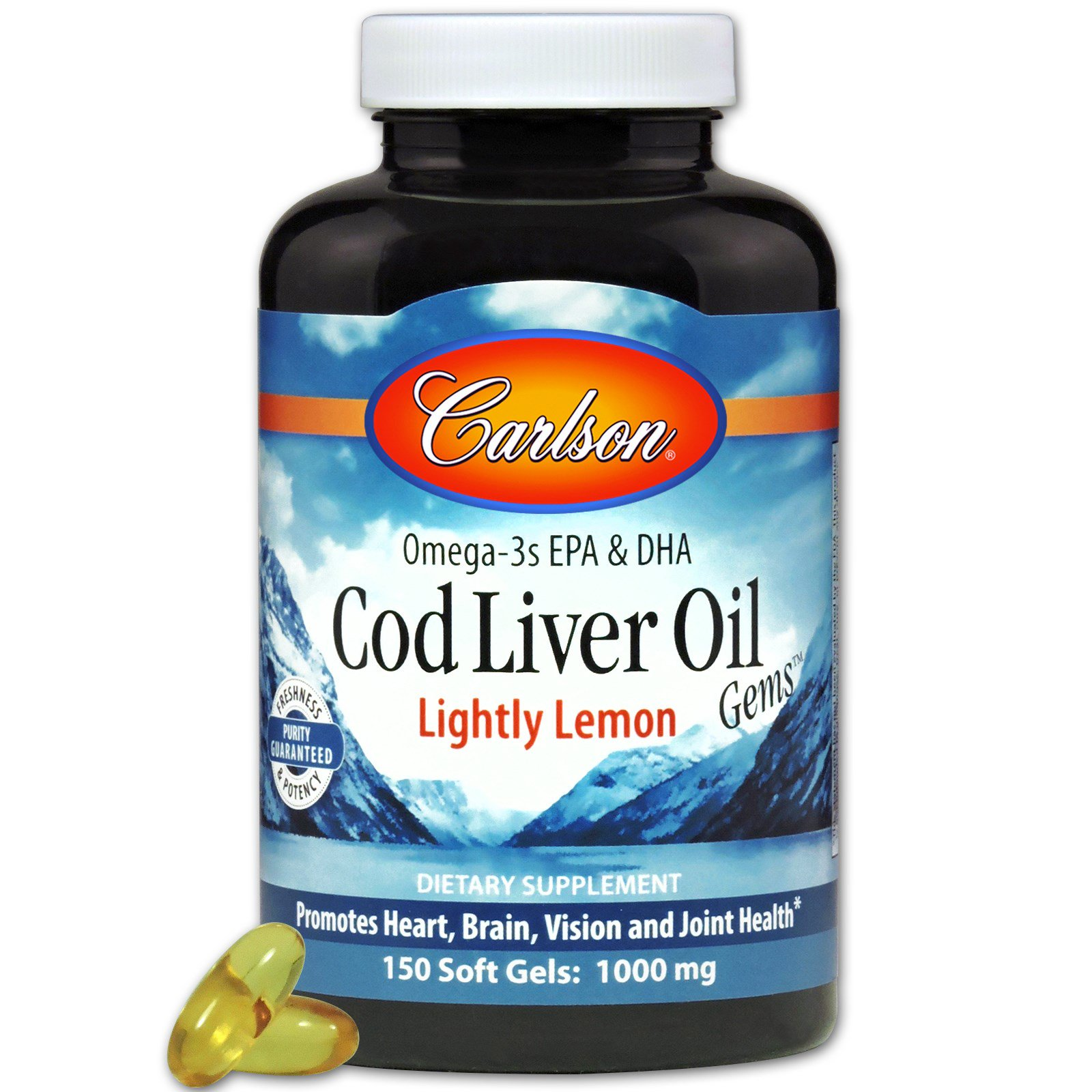 Carlson Labs, «Сокровища масла из печени трески», со слабым лимонным вкусом, 1000 мг, 150 мягких капсул