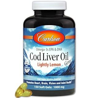 Carlson Labs, Cod Liver Oil Gems, Lightly Lemon, 1000 mg, 150 Soft Gels