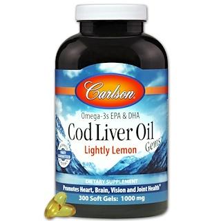 Carlson Labs, Cod Liver Oil Gems, Lightly Lemon, 1000 mg, 300 Soft Gels