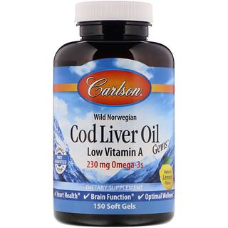 Carlson Labs, Wild Norwegian, Cod Liver Oil Gems, Low Vitamin A, Natural Lemon Flavor, 230 mg, 150 Soft Gels