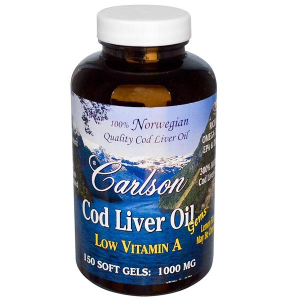 Carlson Labs, Cod Liver Oil Gems, Low Vitamin A, Natural Lemon Flavor, 1,000 mg, 150 Soft Gels
