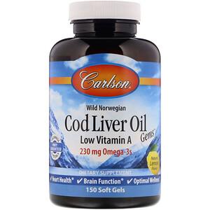 Карлсон Лэбс, Wild Norwegian, Cod Liver Oil Gems, Low Vitamin A, Natural Lemon Flavor, 230 mg, 150 Soft Gels отзывы покупателей