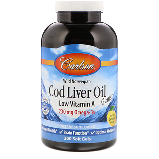 Carlson Labs, Рыбий жир из печени трески, низкий уровень витамина A, натуральный лимонный вкус, 300 гелевых капсул