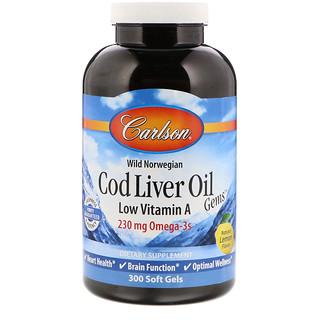 Carlson Labs, Cod Liver Oil Gems, Low Vitamin A, Natural Lemon Flavor, 300 Soft Gels