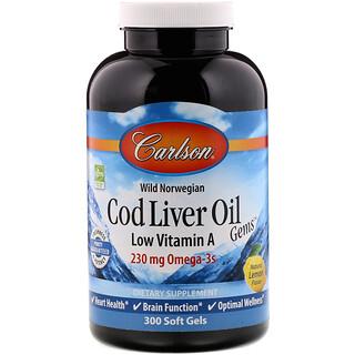Carlson Labs, Wild Norwegian, Cod Liver Oil Gems, Low Vitamin A, Natural Lemon Flavor, 300 Soft Gels