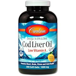 Carlson Labs, Cod Liver Oil Gems, Low Vitamin A, Natural Lemon Flavor, 1,000 mg, 300 Soft Gels