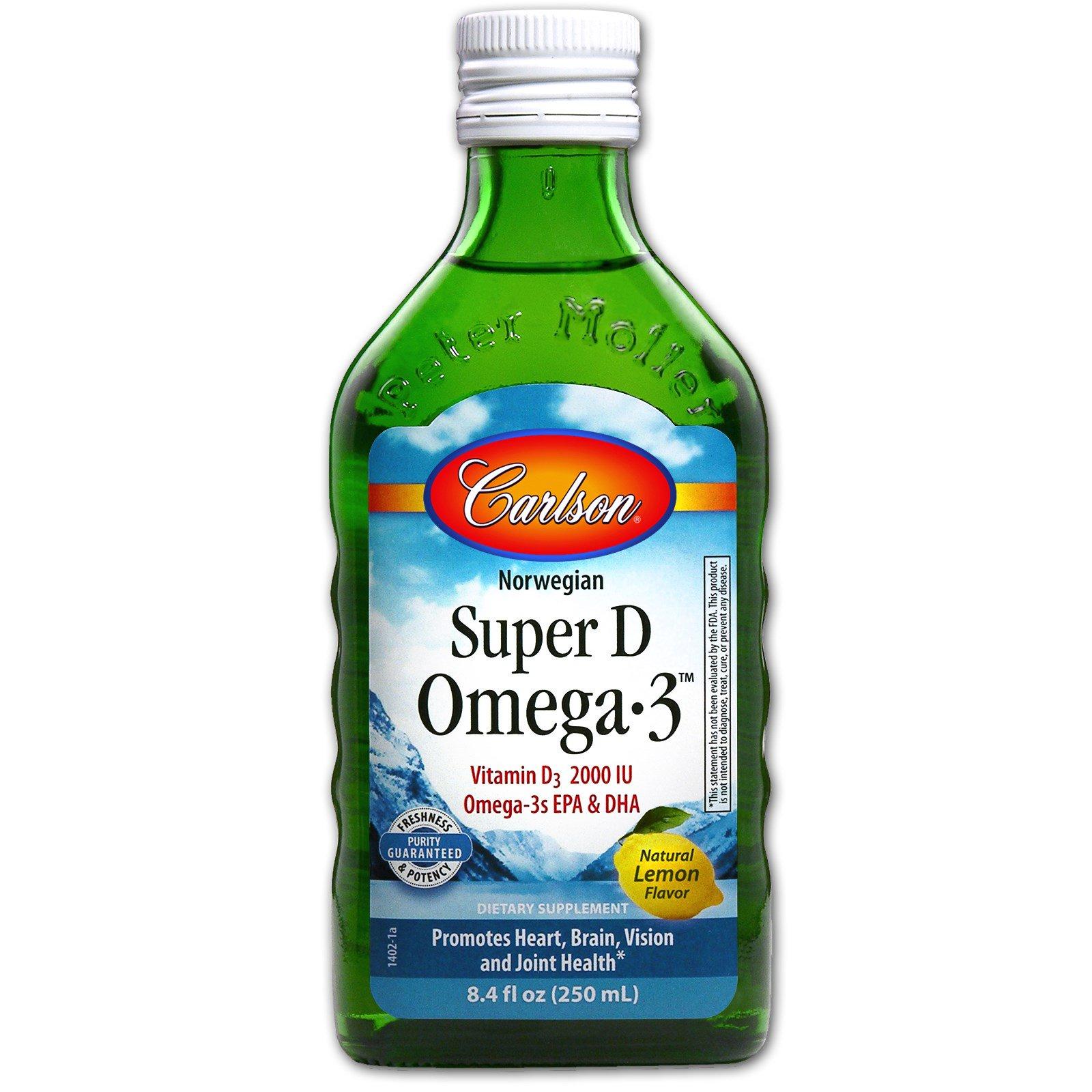 Carlson Labs, Норвежский рыбий жир с витамином D, омега-3 и лимонным ароматизатором, 8,4 мл унции (250 мл)
