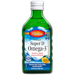 Carlson Labs, Norwegian Super D Omega·3, Lemon Flavor, 8.4 fl oz (250 ml)
