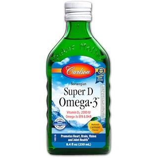 Carlson Labs, Norwegian Super D Omega·3, Natural Lemon Flavor, 8.4 fl oz (250 ml)