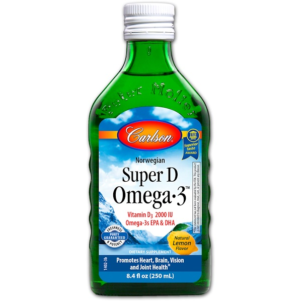 Carlson Labs, Norwegian Super D Omega·3, Natural Lemon Flavor, 8.4 fl oz (250 ml)