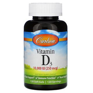 Carlson Labs, Vitamin D3, 250 mcg (10,000 IU), 120 Soft Gels