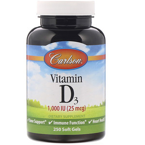 Карлсон Лэбс, Vitamin D3, 25 mcg (1,000 IU), 250 Soft Gels отзывы покупателей