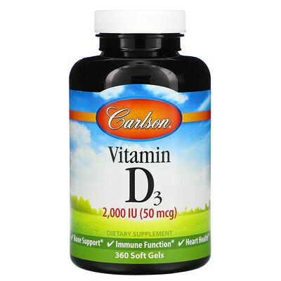 Купить Carlson Labs витаминD3, 2000МЕ (50мкг), 360мягких таблеток
