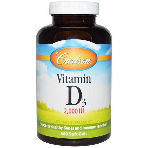 Carlson Labs, Vitamin D3, 2,000 IU, 360 Soft Gels
