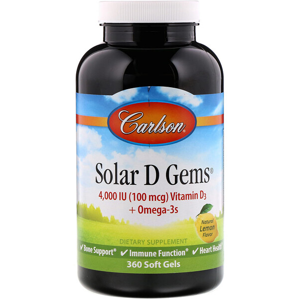 Solar D Gems, Natural Lemon Flavor, 100 mg (4,000 IU), 360 Soft Gels