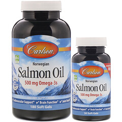 Carlson Labs, 挪威,鮭魚油,250 毫克,180 粒 + 50 粒免費軟凝膠