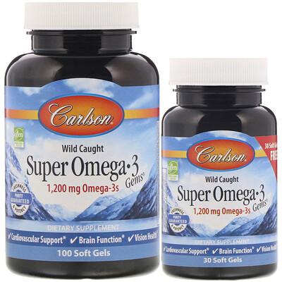 Купить Carlson Labs Выловлено в диких условиях, Супер жемчужины с Омега-3, 1 200 мг, 100 + 30 мягких таблеток