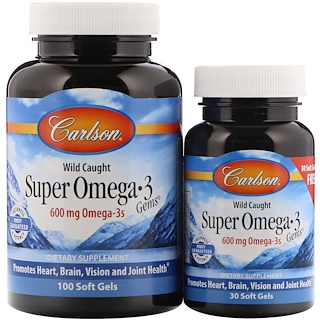 Carlson Labs, Wild Caught Super Omega-3 Gems, 600 мг, 100 мягких капсул + 30 капсул бесплатно