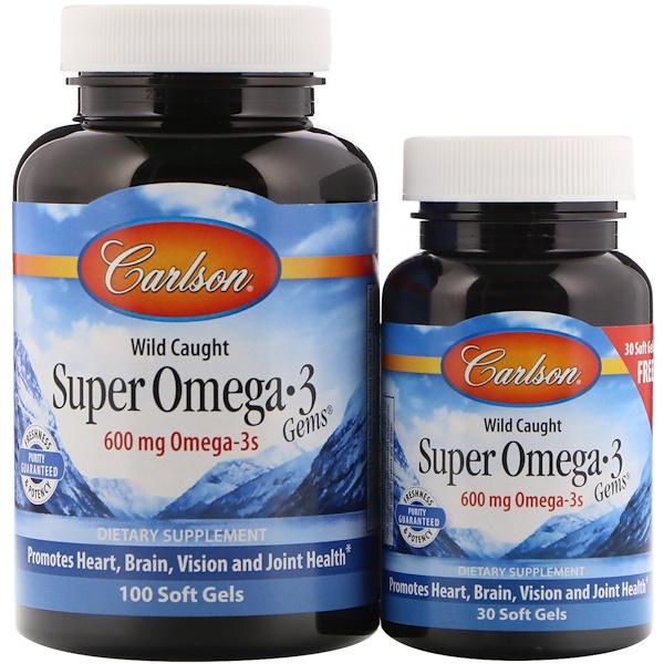 Carlson Labs, Wild Caught Super Omega-3 Gems, 600 мг, 100 мягких капсул + 30 капсул бесплатно