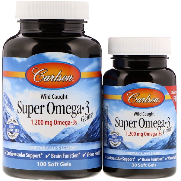 Carlson Labs, Wild Caught, Super Omega-3 Gems, 1,200 mg, 100 + 30 Soft Gels