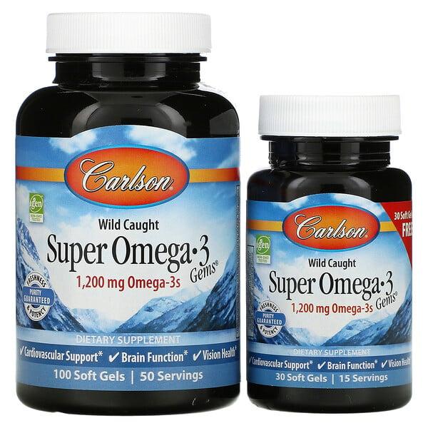 Carlson Labs, Wild Caught, Super Omega-3 Gems, 600 mg, 100 + 30 Soft Gels