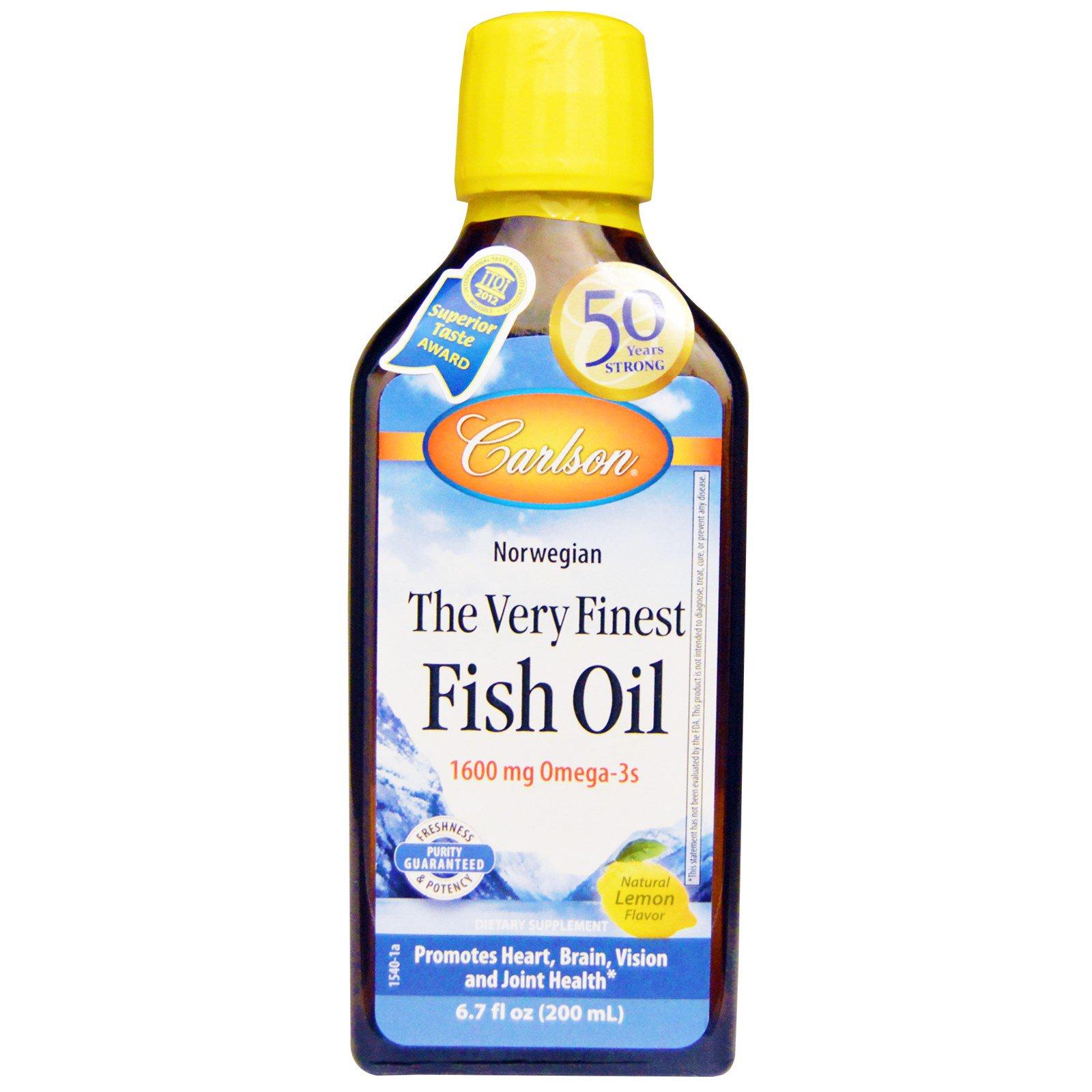 Carlson Labs, Наилучший рыбий жир, норвежский, со вкусом лимона, 6,7 жидкой унции (200 мл)