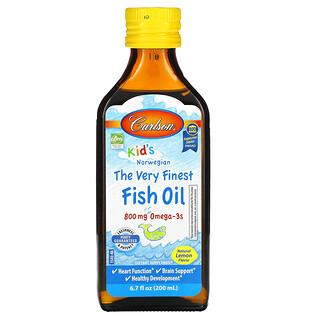 Carlson Labs, Kid's Norwegian, The Very Finest Fish Oil, Natural Lemon, 800 mg, 6.7 fl oz (200 ml)