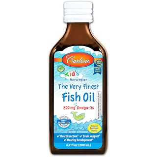 Carlson Labs, Kid's, The Very Finest Fish Oil, Natural Lemon Flavor, 6.7 fl oz (200 ml)