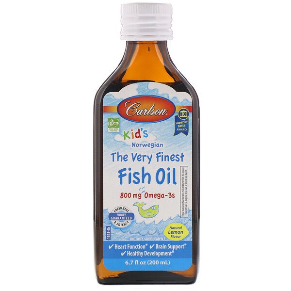Carlson Labs, Kid's Norwegian, The Very Finest Fish Oil, Natural Lemon Flavor, 800 mg, 6.7 fl oz (200 ml)