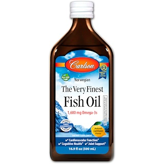 Carlson Labs, Norwegian, The Very Finest Fish Oil, Natural Lemon Flavor, 16.9 fl oz (500 ml)