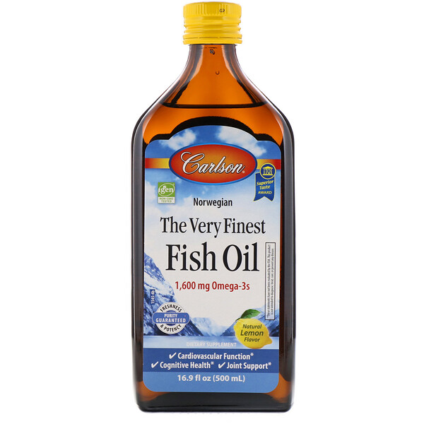 Carlson Labs, Norwegian, The Very Finest Fish Oil, Natural Lemon Flavor, 1,600 mg, 16.9 fl oz (500 ml)