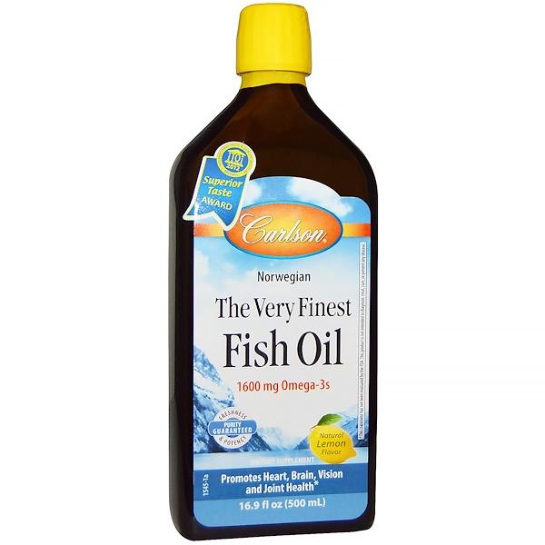 Carlson Labs, Norwegisches Fischöl, das allerfeinste Fischöl, natürlicher Zitronengeschmack, 16,9 fl oz (500 ml)