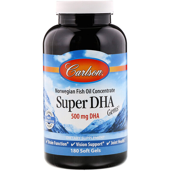 Carlson Labs, Super-DHA Gems, 500 mg, 180 Soft Gels