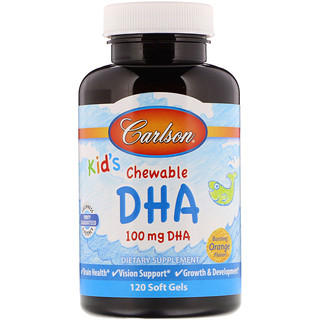 Carlson Labs, Kids Chewable DHA, Bursting Orange Flavor, 120 Soft Gels