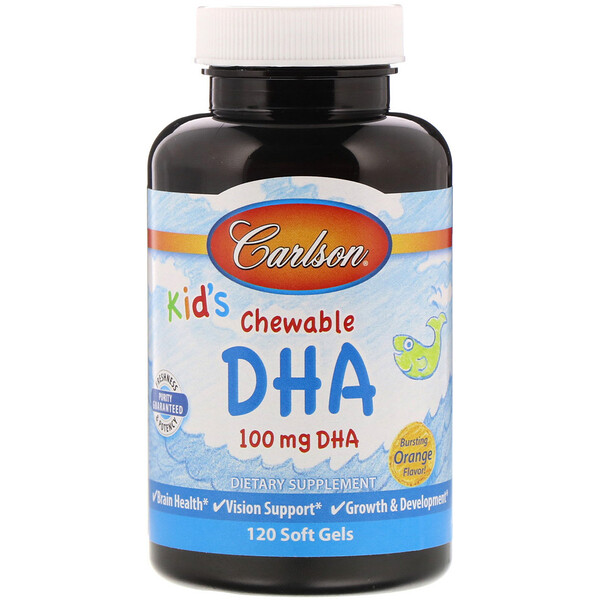 Carlson Labs, Kid's Chewable DHA, Bursting Orange Flavor, 100 mg, 120 Soft Gels