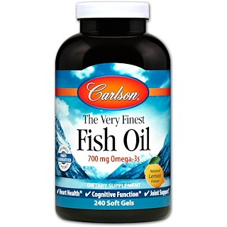 Carlson Labs, The Very Finest Fish Oil, Natural Lemon Flavor, 240 Soft Gels