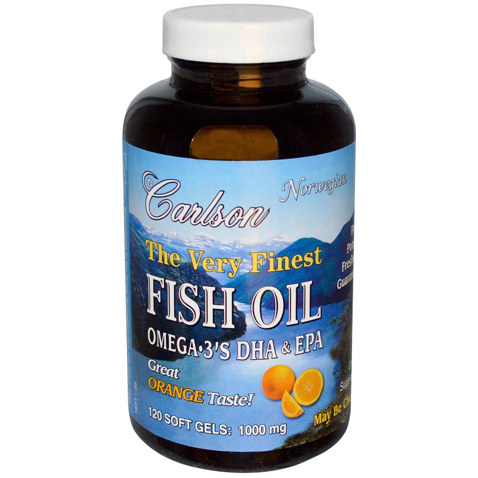 Carlson Labs, Чистейший рыбий жир, натуральный апельсиновый вкус, 1,000 мг, 120 капсул в мягкой оболочке