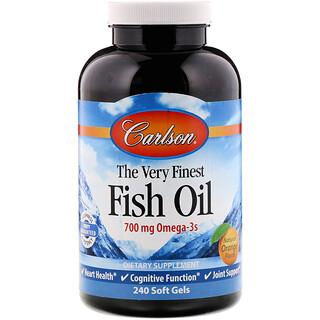 Carlson Labs, 최고급 피쉬 오일, 천연 오렌지 향, 350 mg, 소프트젤 240정