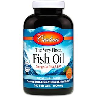 Carlson Labs, Самый лучший рыбий жир, натуральный апельсиновый вкус, 700 мг, 240 мягких таблеток