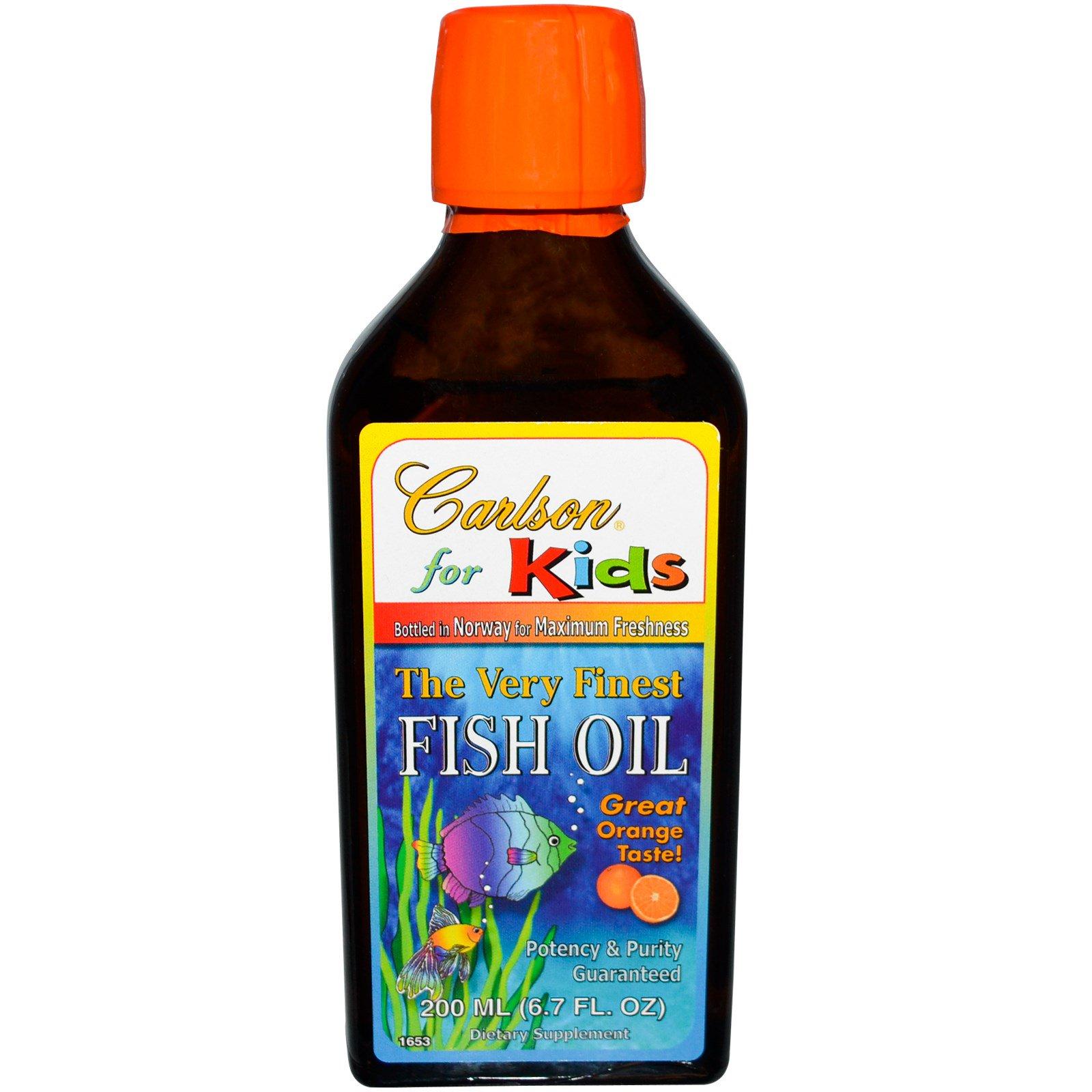 Carlson Labs, Kid's, очень рафинированный рыбий жир с натуральным апельсиновым вкусом, 6,7 унций (200 мл)