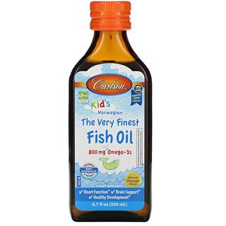 Carlson Labs, 兒童,挪威,上等魚油,天然柳丁味,800 毫克,6.7 液量盎司(200 毫升)