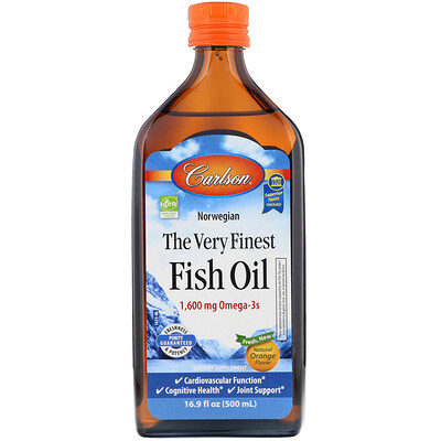 Norwegian, The Very Finest Fish Oil, Natural Orange Flavor, 1,600 mg, 16.9 fl oz (500 ml) недорого